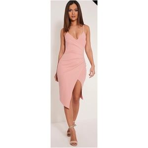 PrettyLittleThing Wrap Front Pink Mini Dress